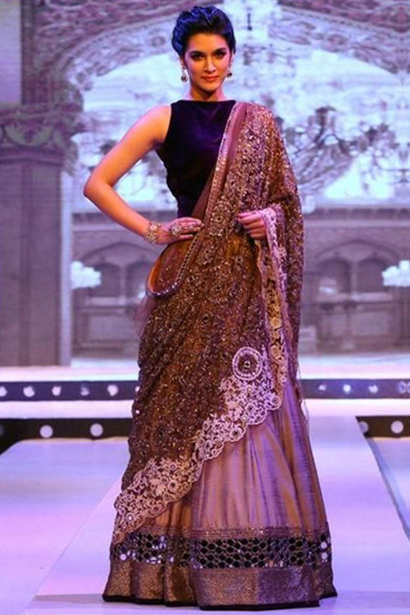 Bollywood Beige And Black Taffeta Silk Lehenga With Velvet Choli