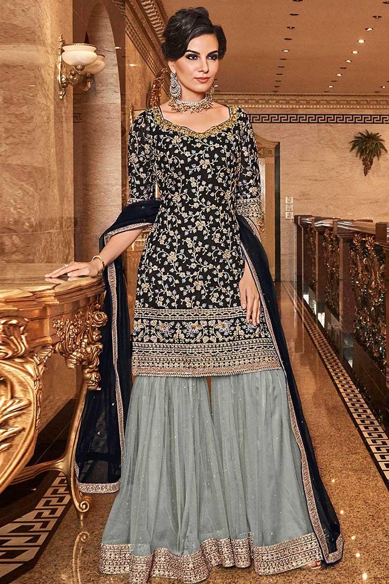 Black Georgette Sharara Suit With Resham Work