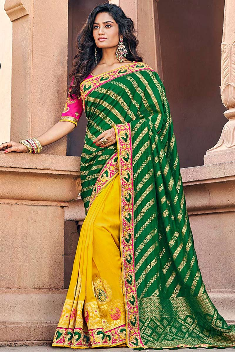 Forest Green Jacquard Silk Half And Half Saree