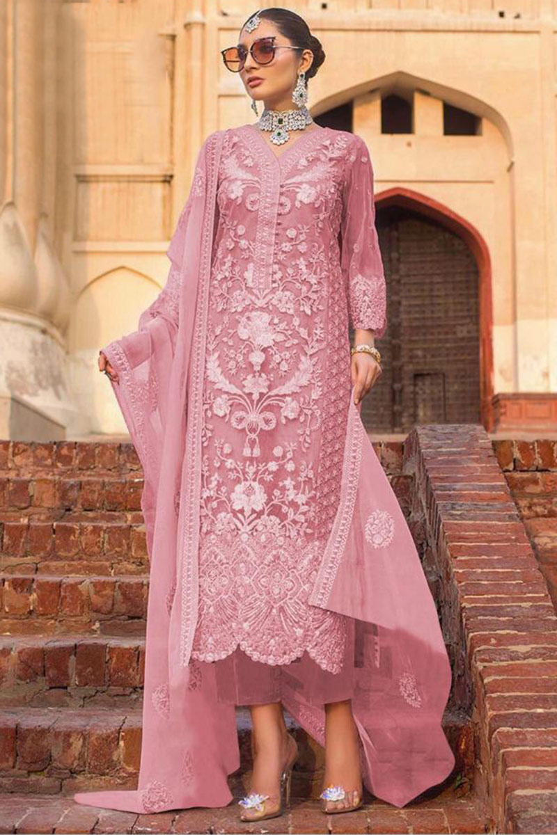 Pink Net Trouser Suit With Stone Work