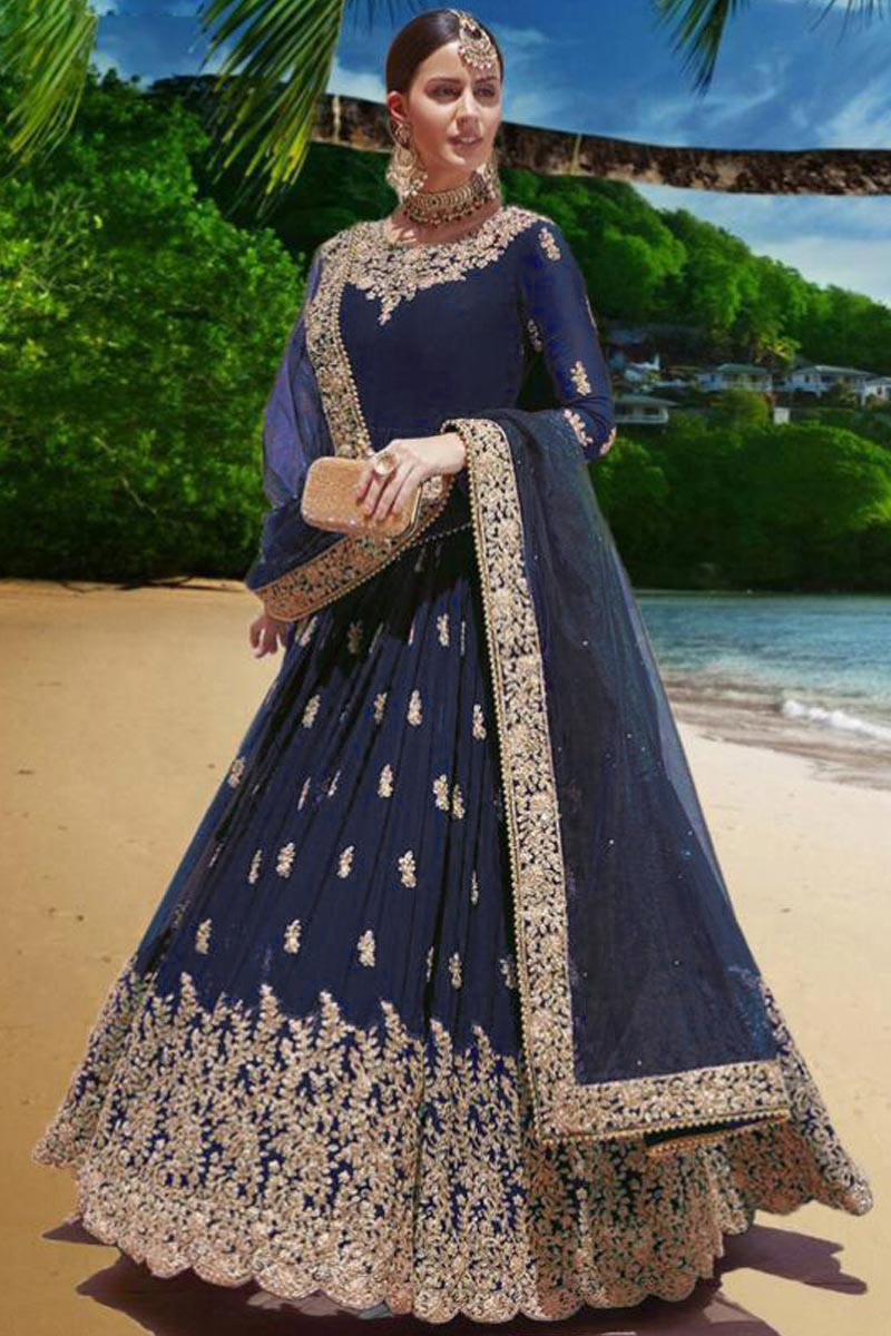 Online Georgette Anarkali Suits USA - Prussian Blue Georgette Embroidered Anarkali Suit