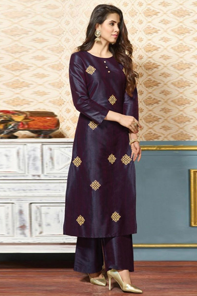 Silk Embroidered Trouser Suit In Violet Colour