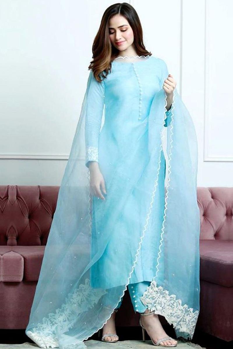 Sky Blue Banglori Silk Pakistani Straight Pant Suit