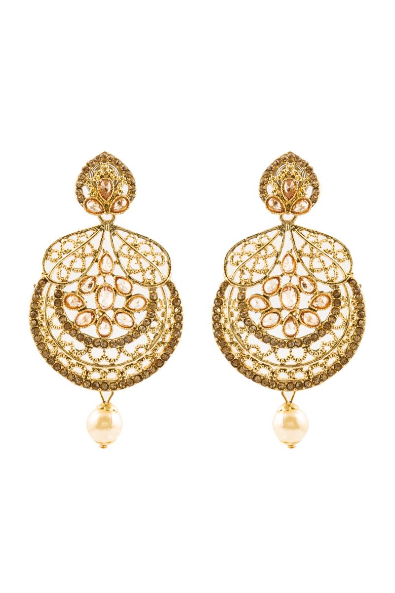 Crystal Studded Jhumka Earrings