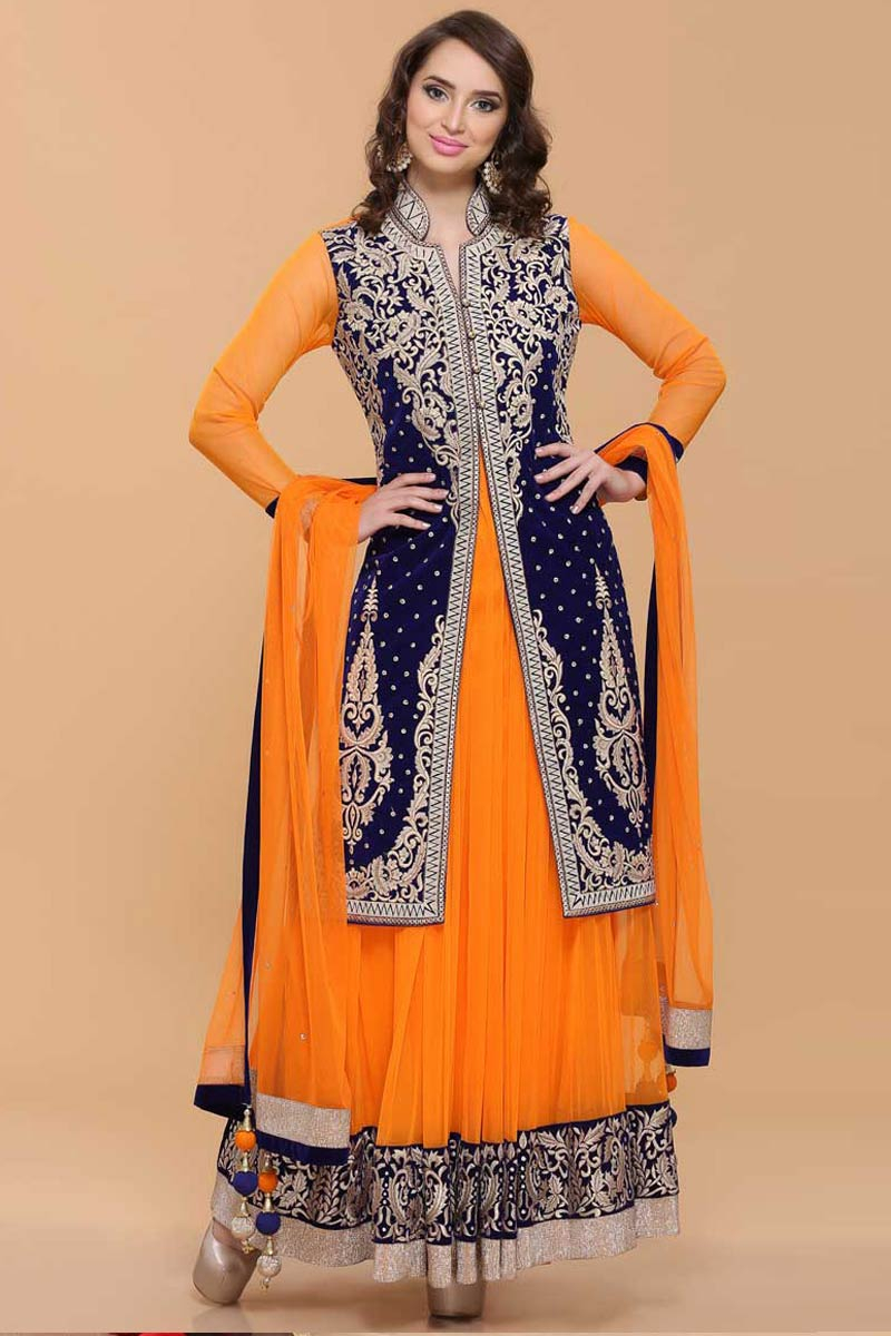 Orange Velvet Jacket Net Anarkali Suit