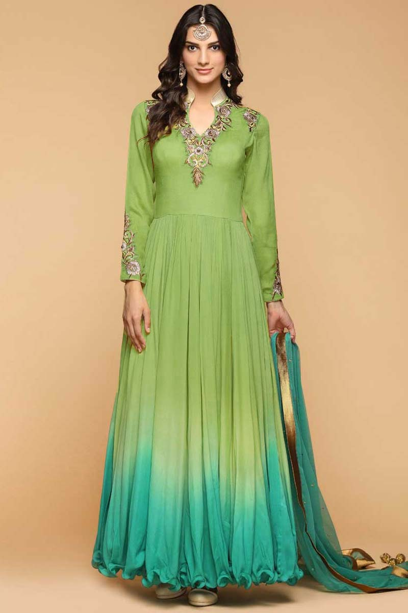 Resham Embroidered Silk Green Anarkali Suit