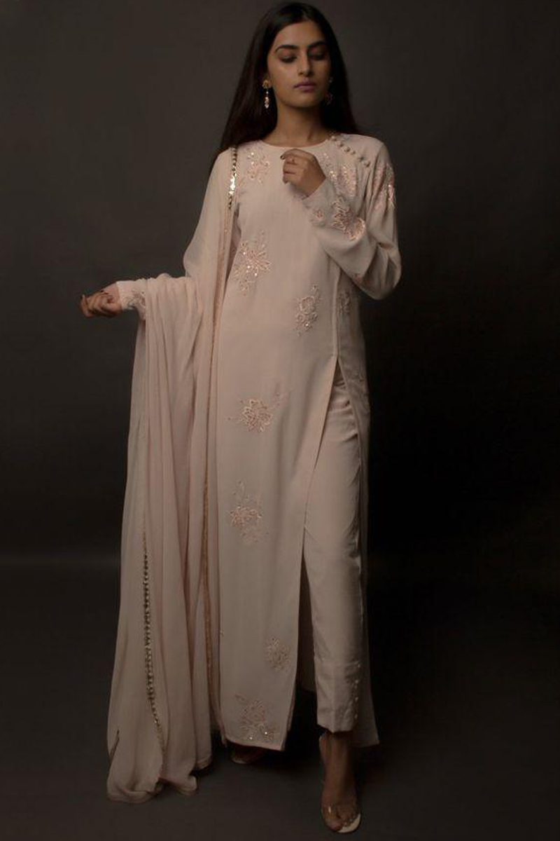 Georgette Trouser Suits USA - Baby Pink Georgette Embroidered Cigarette Pant Suit