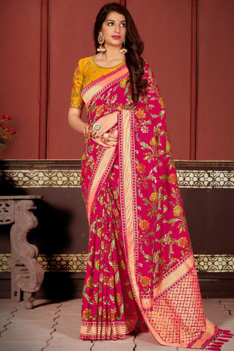 Banarasi Silk Indian Party Wear Saree In Rani Pink Colour