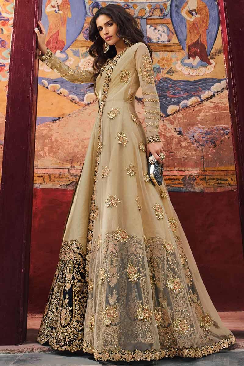 Banglori Silk Jacket Style Anarkali Suit In Beige Color