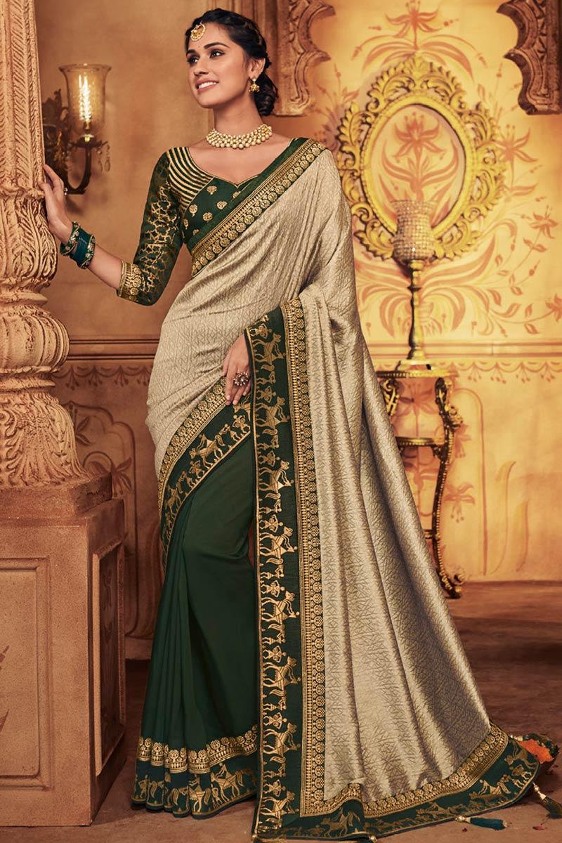 Beige Silk Half And Half Saree With Silk Blouse