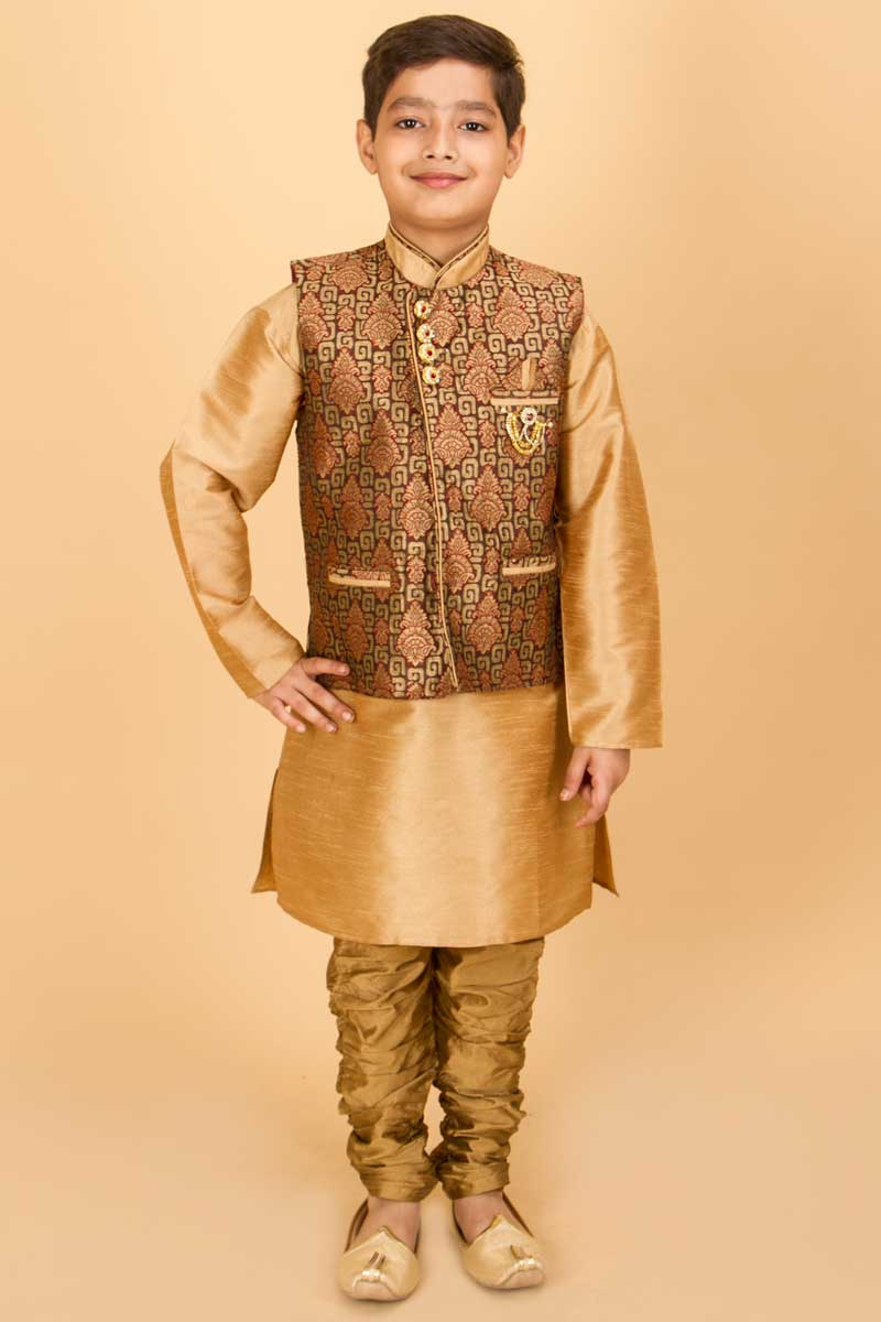 Golden Kurta With Matching Jacket Set