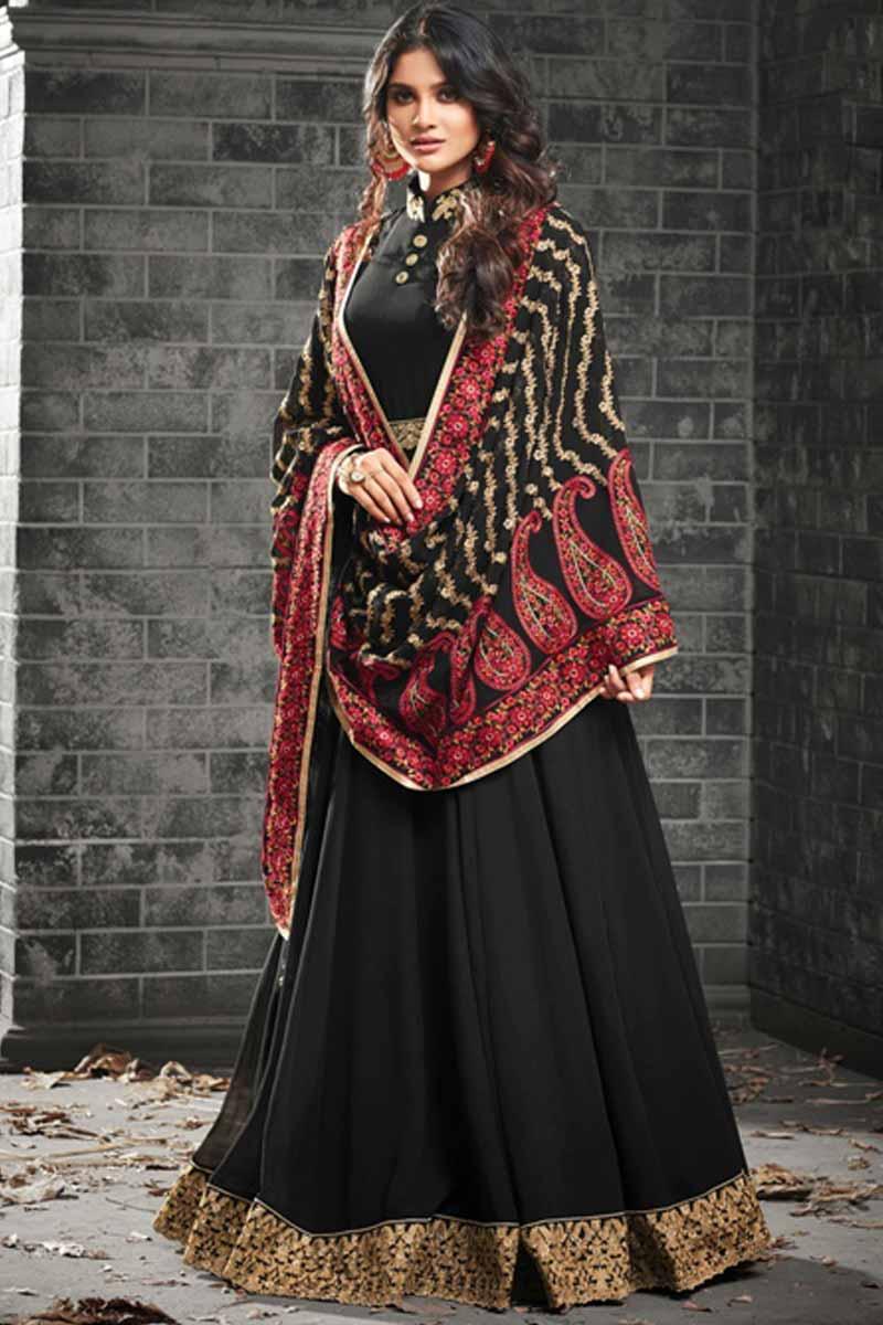Andaaz Fashion Black Anarkali Suit Collection Online USA, Canada, UAE, Australia