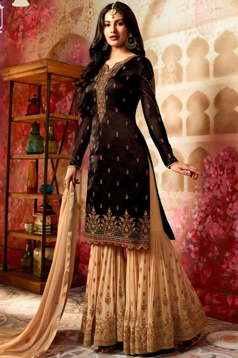 Buy Umber Brown Silk Sharara Suit With Zari Work Online