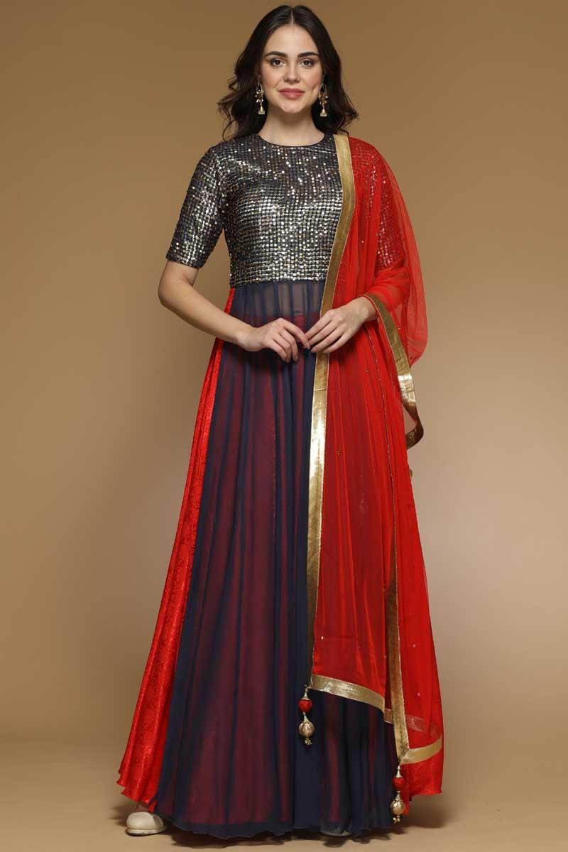 Blue And Red Lehenga With Net Choli