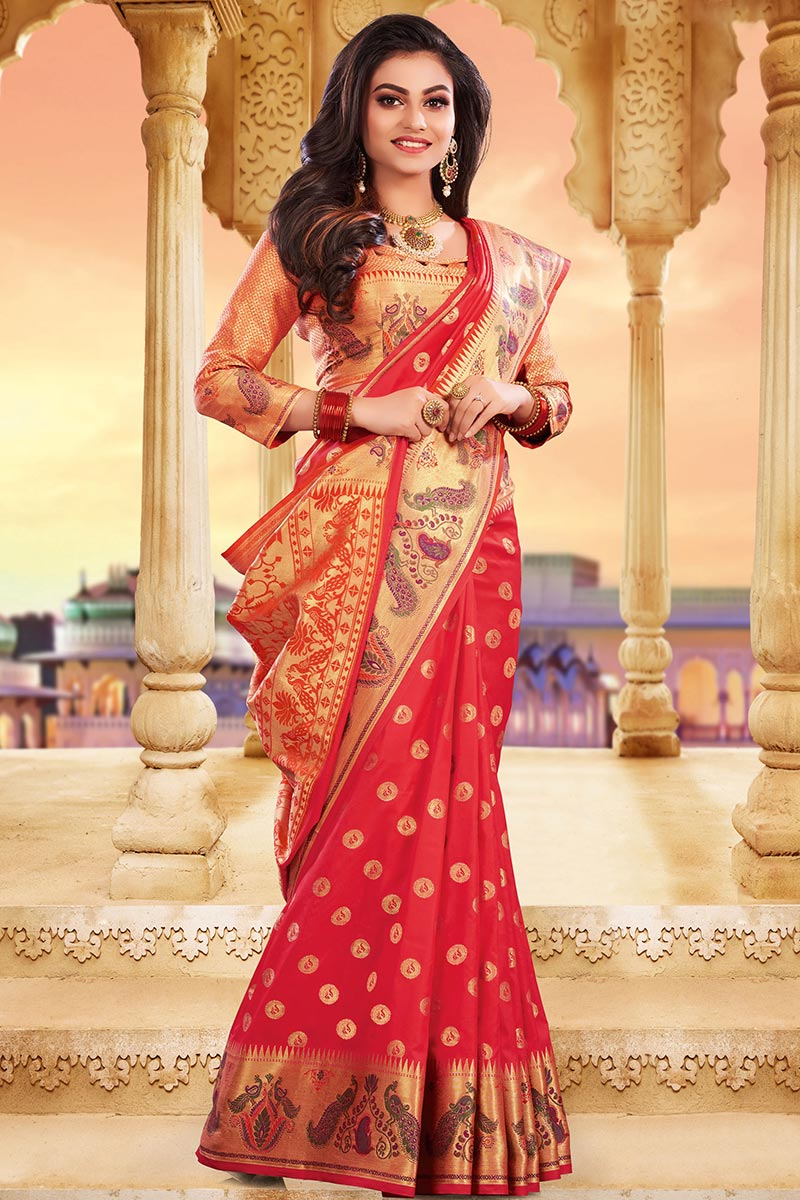 Coral Red Bhagalpuri Silk Saree With Silk Blouse