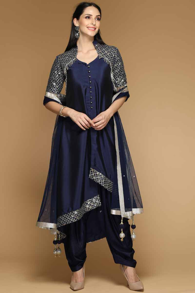 Crystal Embroidered Dupion Blue Patiala Suit