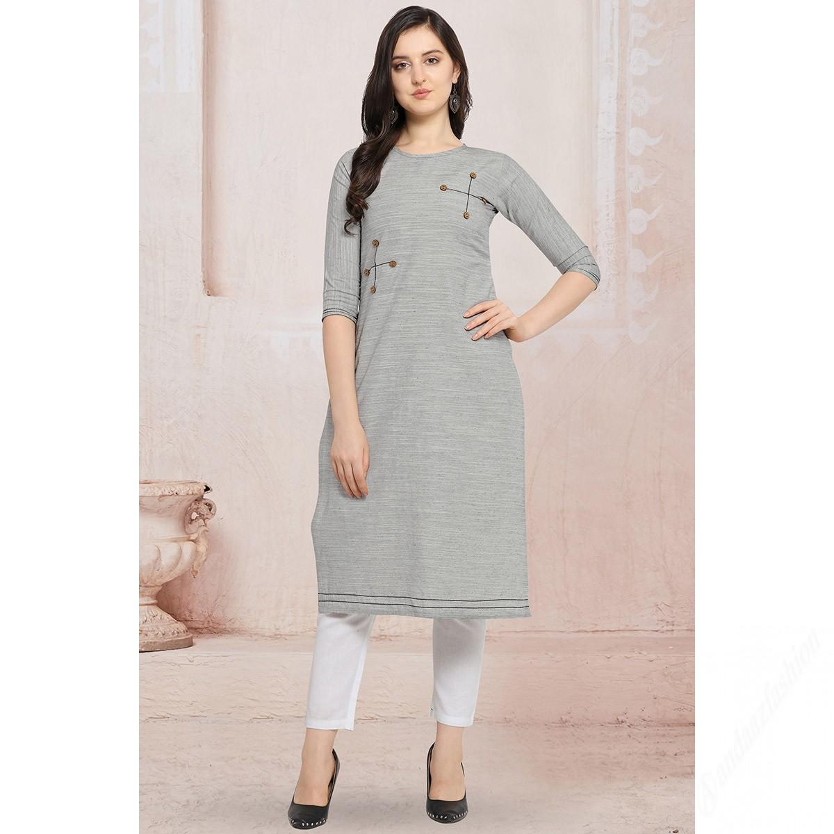 Buy Grey Khadi Kurti With Cigarette Pant Online Lkv0022 Andaaz Fashion