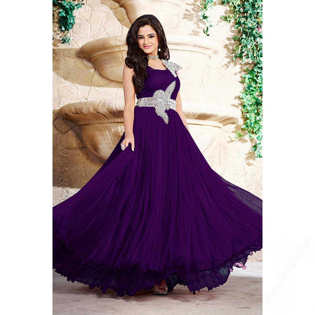 Purple Georgette Prom Dresses Gown