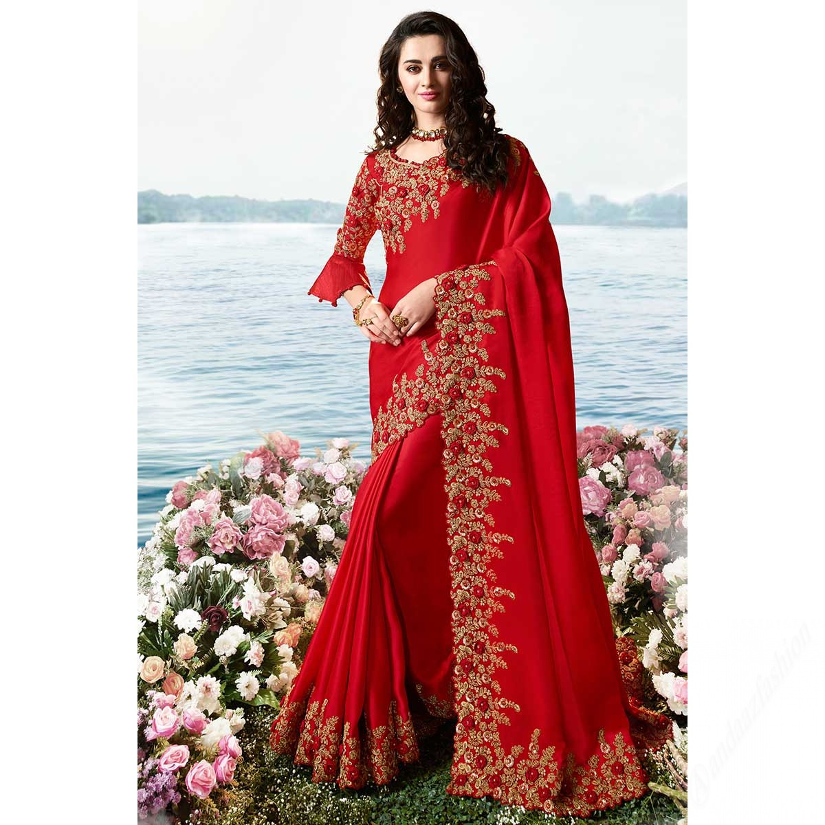 Silk Indian Wedding Saree In Red Colour