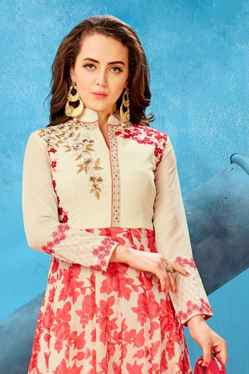 fdd9fcd58 ... Georgette Anarkali Suit In Red With Cream Color Display Gallery Item 2
