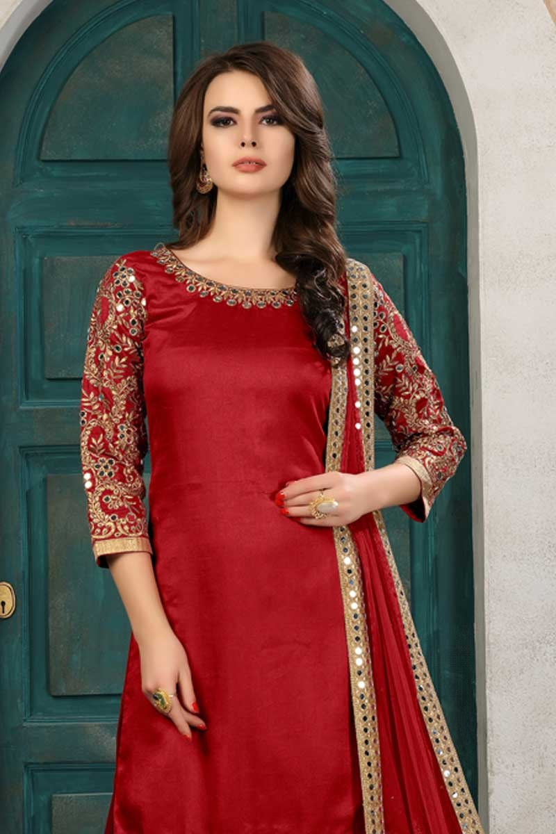 d4b5ebd4fc ... of Hand Embroidered Art Silk Cardinal Red Patiala Suits Display Gallery  Item 2