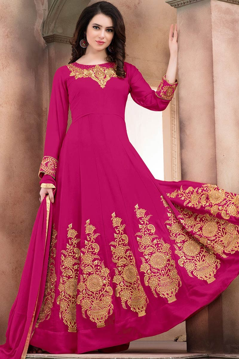 f59d28e4f6 ... Pink Faux Georgette Anarkali Churidar Suit With Dupatta Display Gallery  Item 1 ...