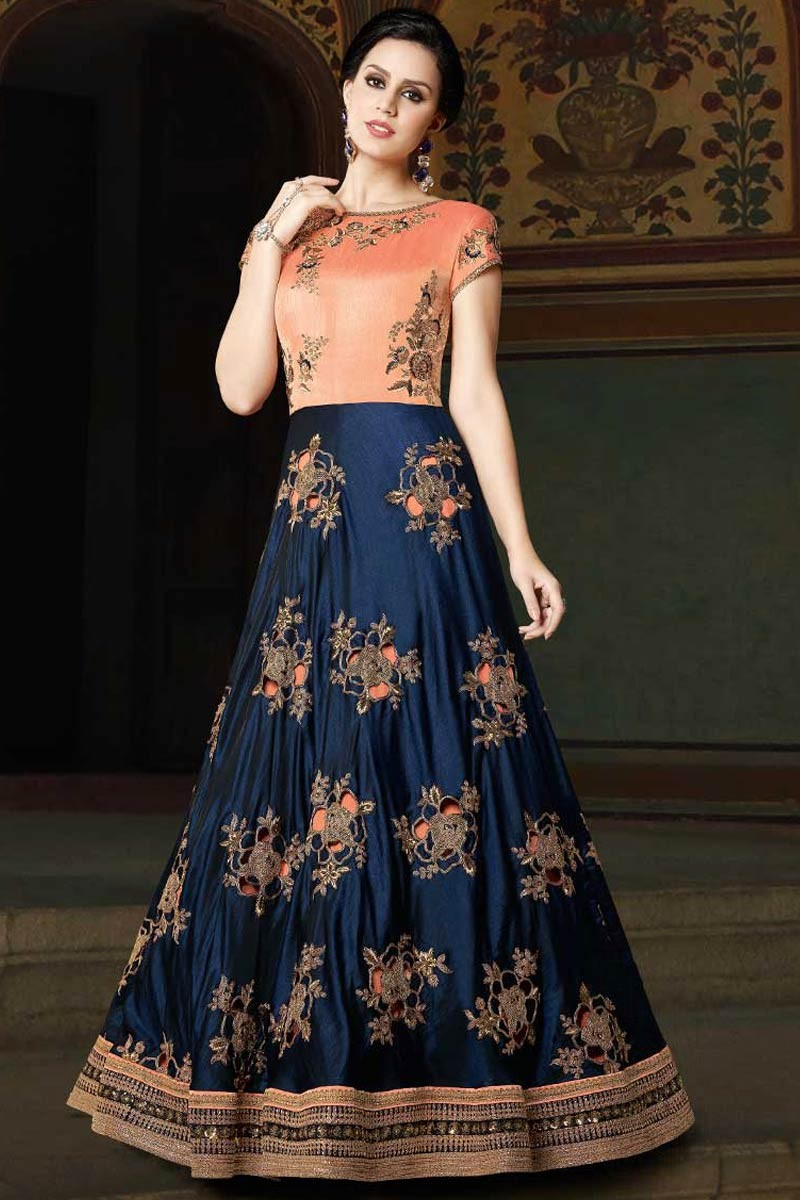 8036d2b4f4 Thumbnail Image of Navy Blue And Peach Art Silk Anarkali Suit With Dupatta  Display Gallery Item 1 ...