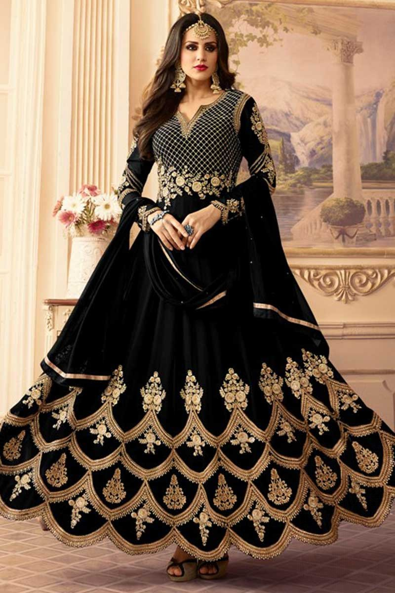 b1a132c63e0e Thumbnail Image of Resham Embroidered Georgette Black Anarkali Suit Display  Gallery Item 1 ...