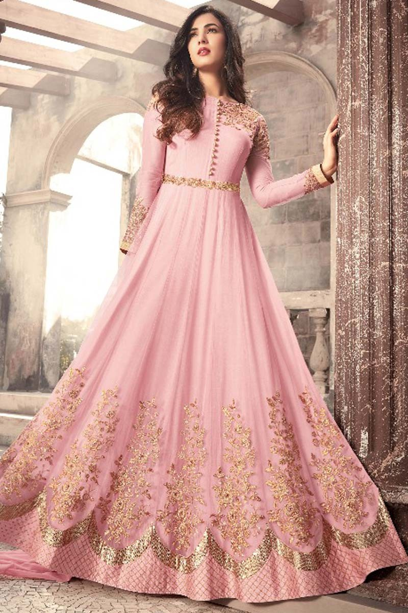 f21bbc0899 ... Anarkali suit in Lemonade Pink Color with Resham Embroidered Display  Gallery Item 1 ...