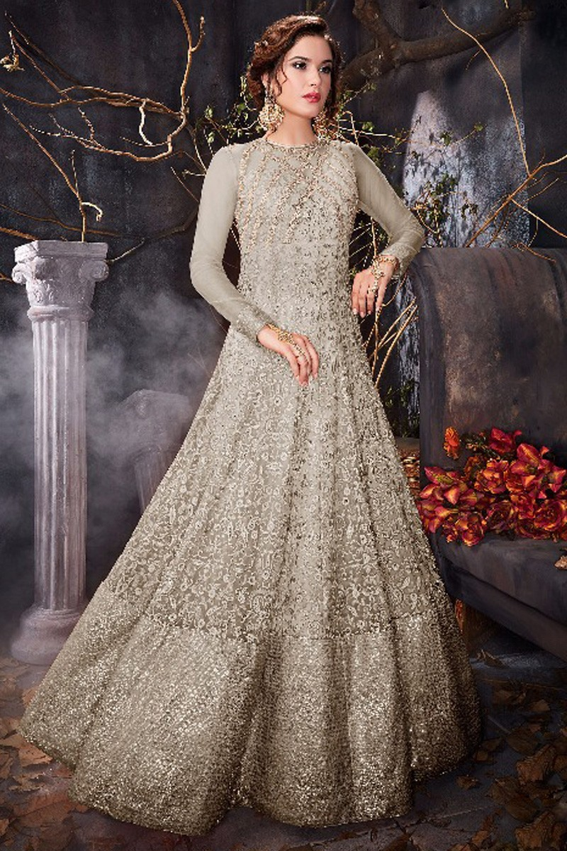68fe19101db Buy Glorious Anarkali Gown In Battleship Grey Color With Resham Work ...