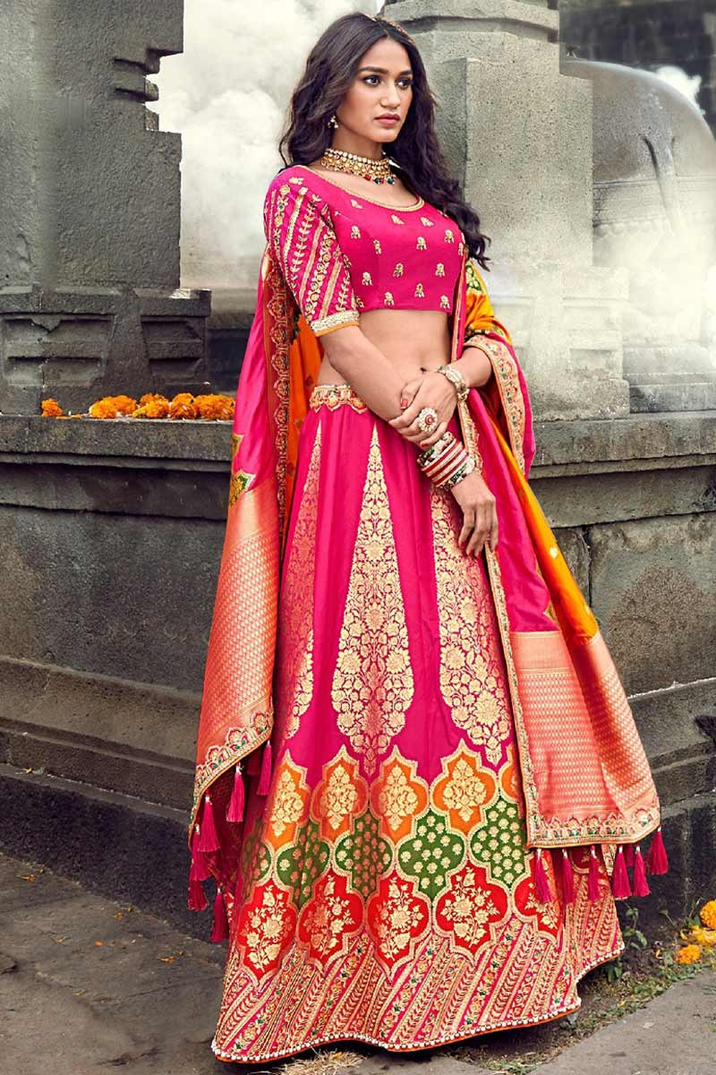 Buy Banarasi Silk Wedding Lehenga In Rani Pink Colour Online Llcv01556 Andaaz Fashion It makes your skin look radiant, and the shade almost lit up the face. banarasi silk wedding lehenga in rani pink colour