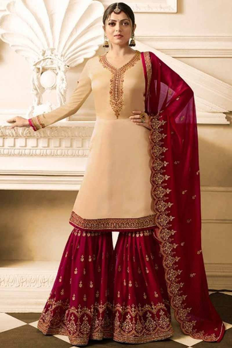d0837ced640 Buy Resham Embroidered Satin Beige With Red Sharara Suit Online ...