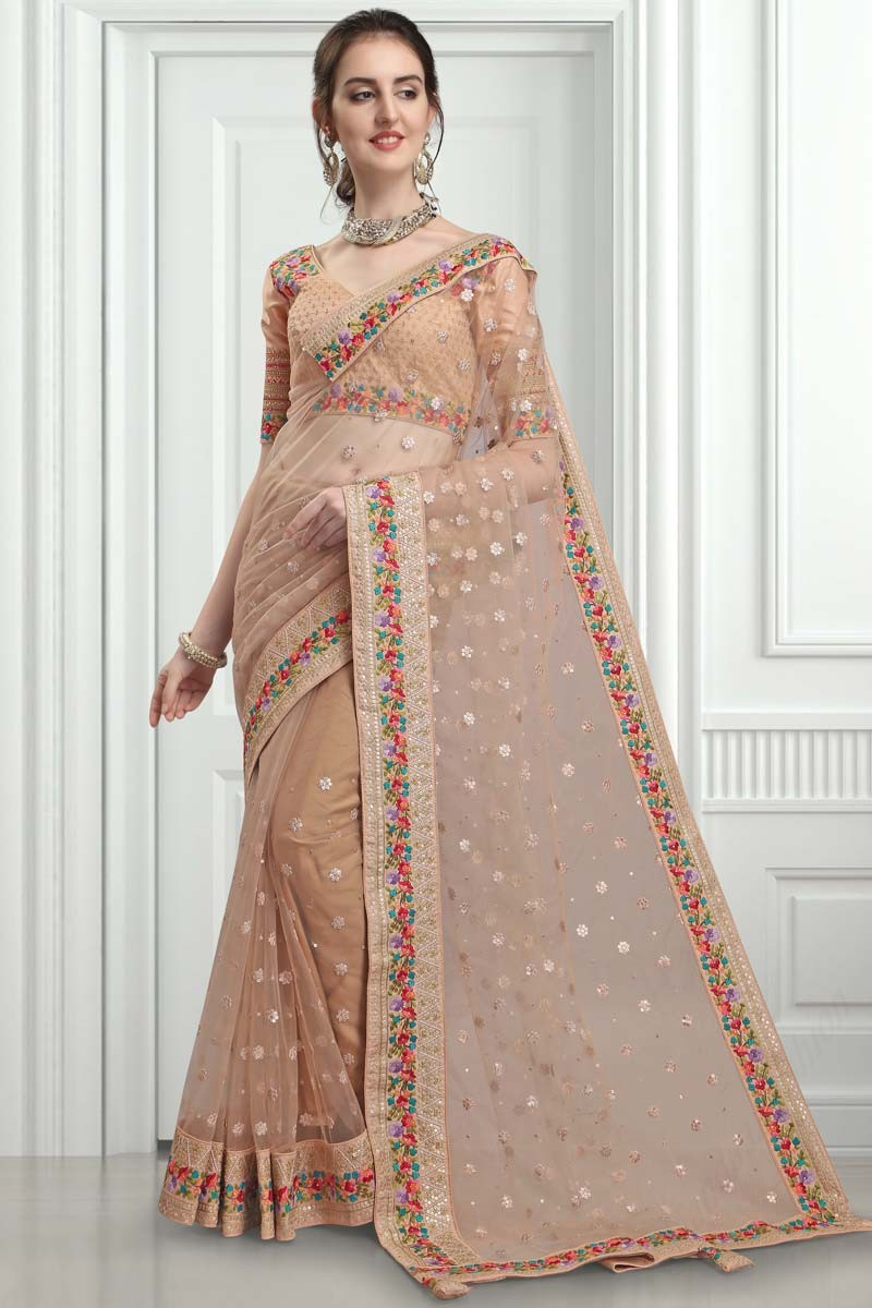 Buy Beige Net Saree With Silk Blouse Online Sarv02517 Andaaz Fashion