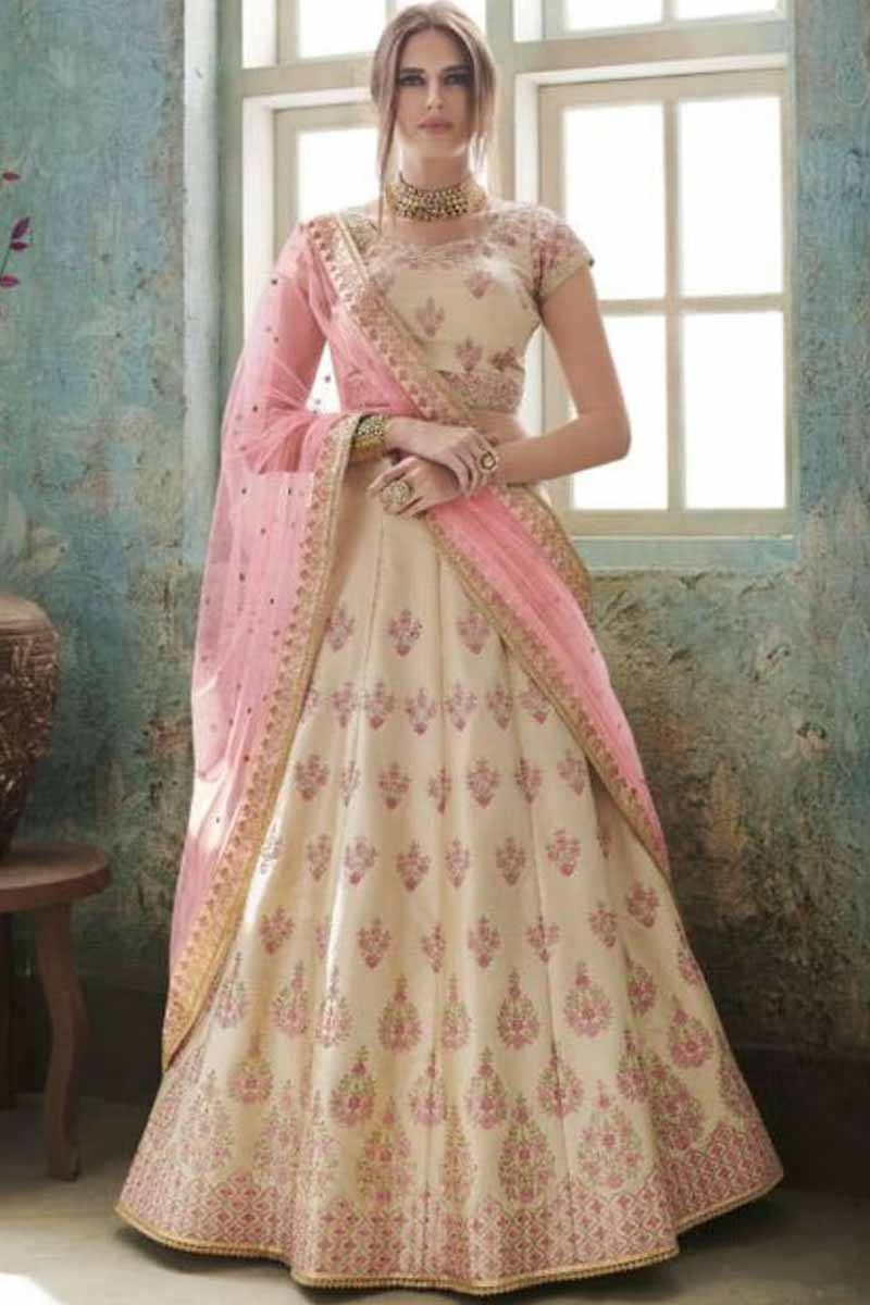 20466e9325 Buy Lehenga Online Shopping Beige With Pink Satin Chaniya Choli ...