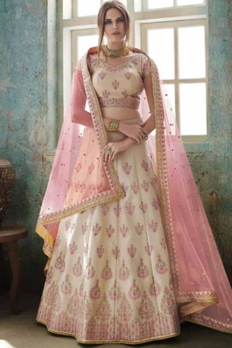 5173c9028d Buy Lehenga Online Shopping Beige With Pink Satin Chaniya Choli Online -  LLCV00491 | Andaaz Fashion