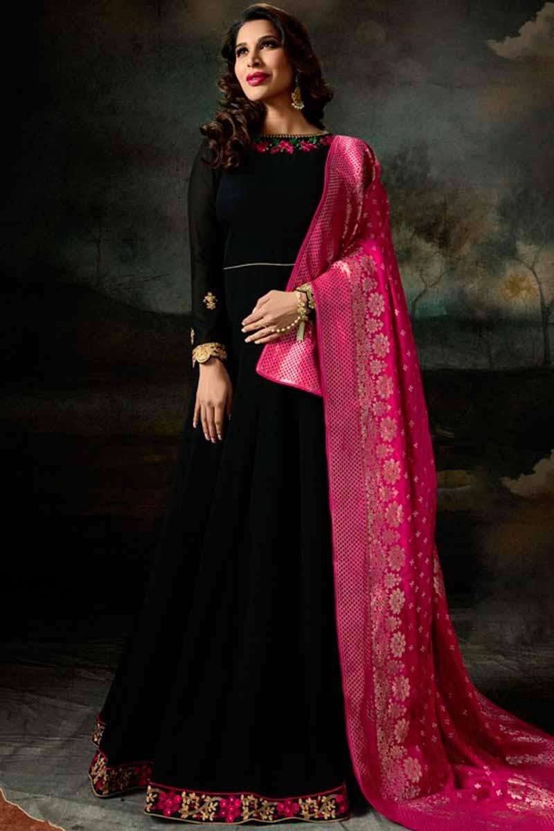 83b50fee22 Thumbnail Image of Black Anarkali Suit with Deep Pink Dupatta Display  Gallery Item 1 ...