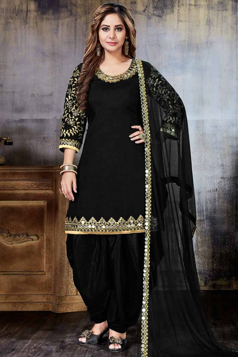 8f01ba005 Thumbnail Image of Art Silk Patiala Suits In Black Color Display Gallery  Item 1 ...