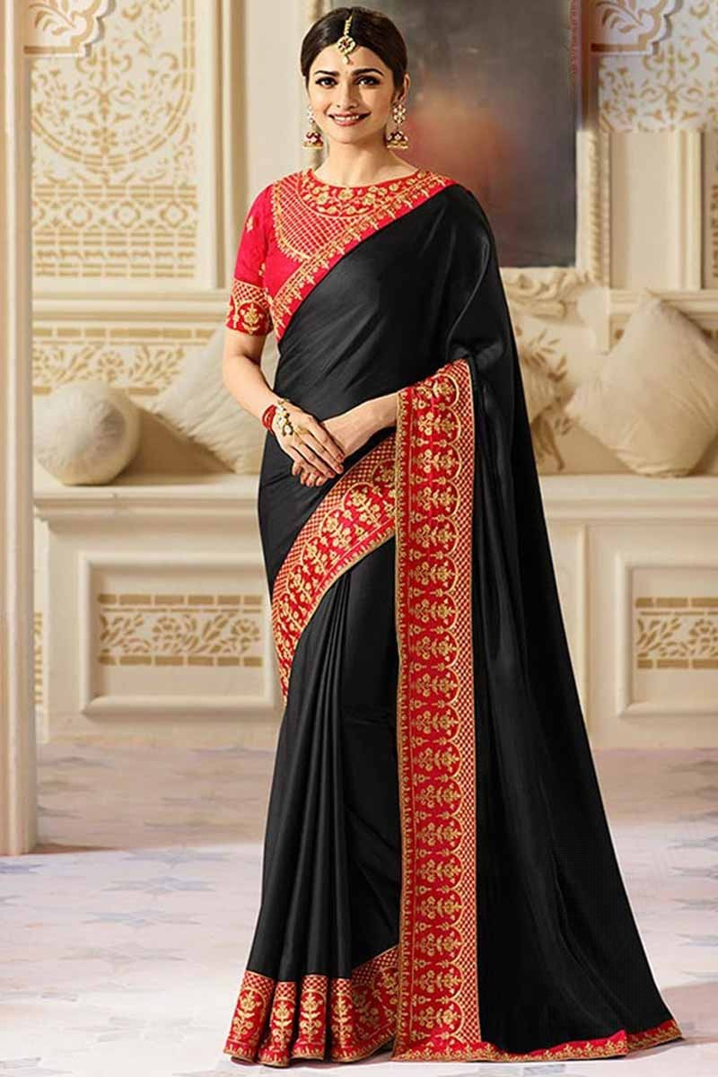 f543ba2212 Indian designer wedding saree, Black silk embroidered sari, round neck