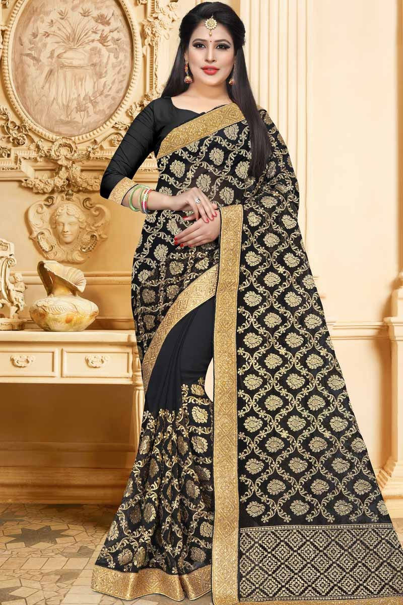 788bd8d302 Thumbnail Image of Black Georgette Saree With Georgette Blouse Display  Gallery Item 1 ...