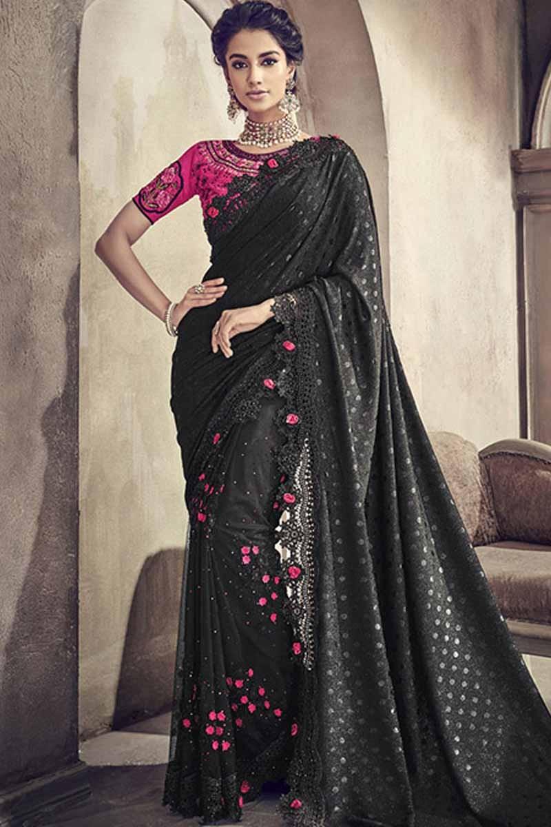 cb052e5be0ab3c Buy Black Silk Saree With Net Blouse Online - SARV01419   Andaaz Fashion