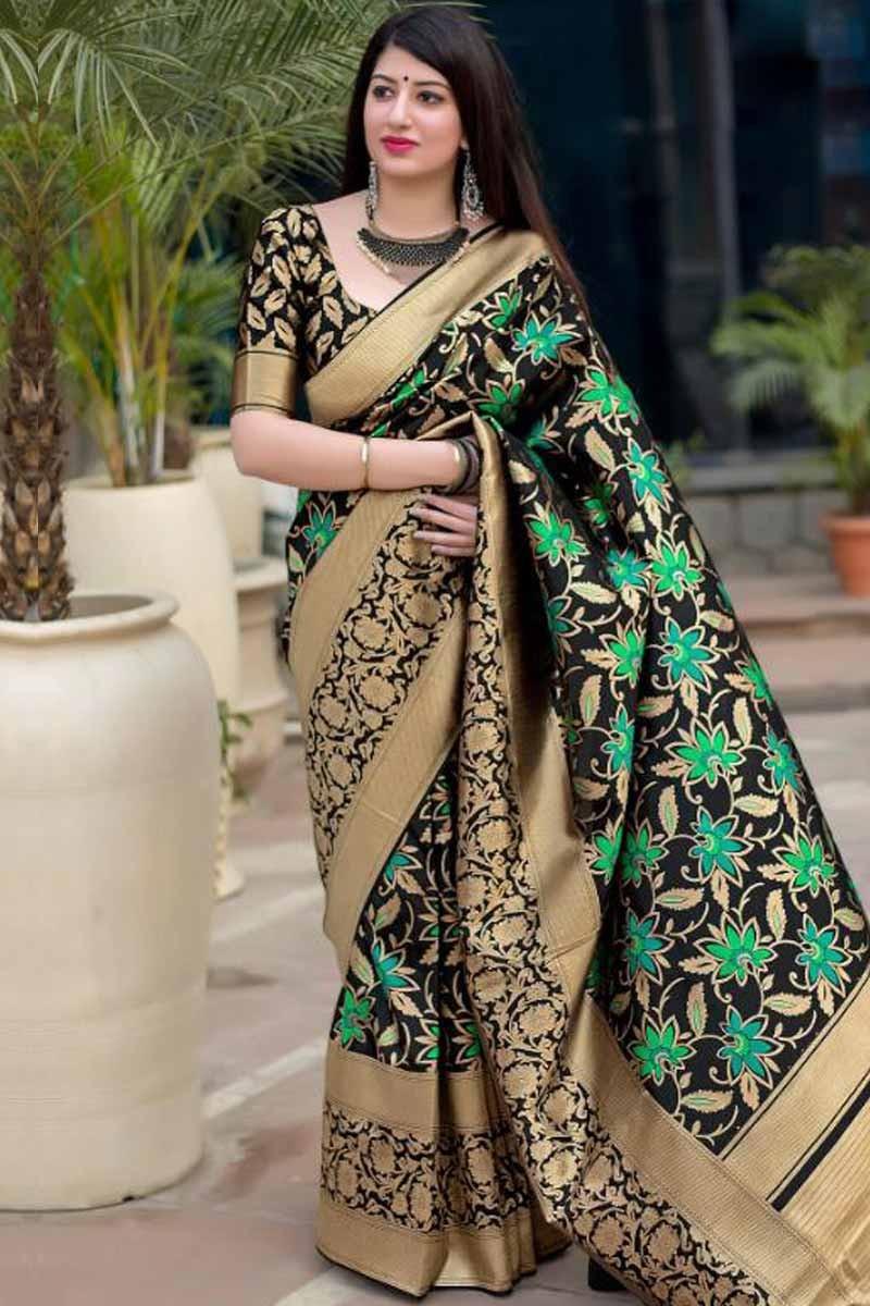 bbaf7f2b73ddc Buy Black with golden border silk Saree With Silk Blouse Online ...