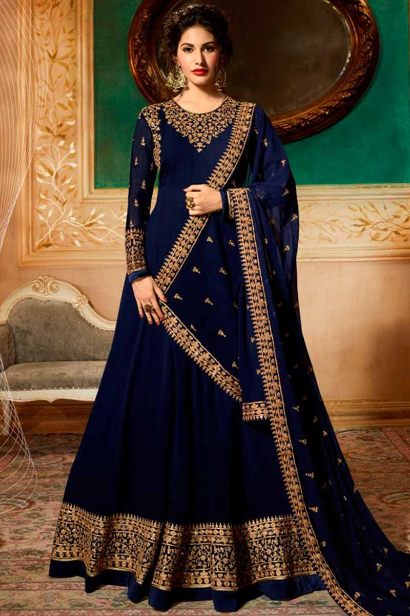 e4ade3fde3 Thumbnail Image of Georgette Anarkali Suit In Navy Blue Color Display  Gallery Item 1 ...