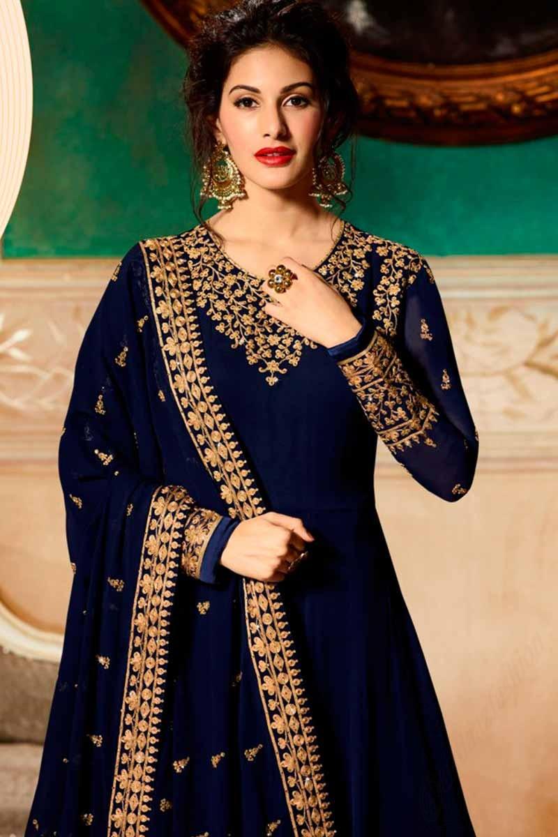 133aaad8e6f Buy Dazzling Georgette Anarkali Suit In Blue Color Online ...