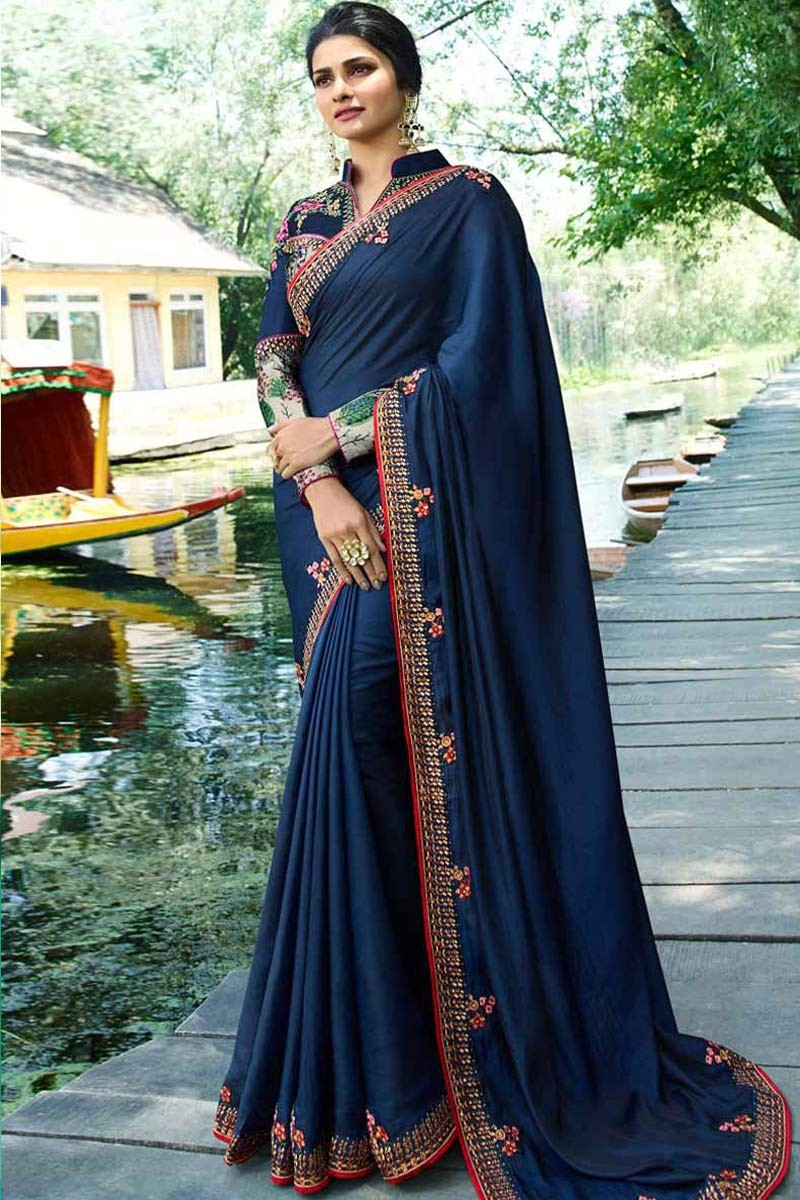 932c6f02d3853a Thumbnail Image of Blue Silk Saree With Silk Blouse Display Gallery Item 1  ...