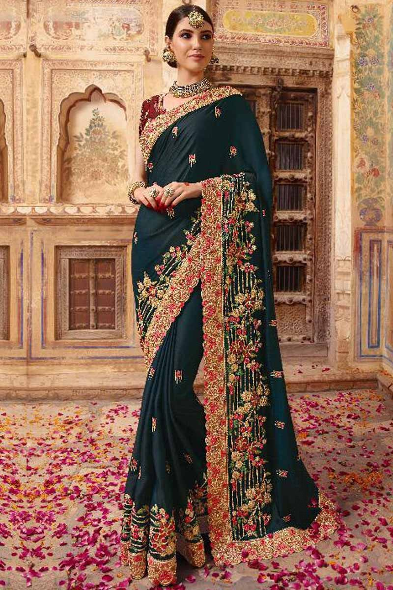 80802a56a1a37c Thumbnail Image of Blue Silk Saree With Velvet Blouse Display Gallery Item  1 ...