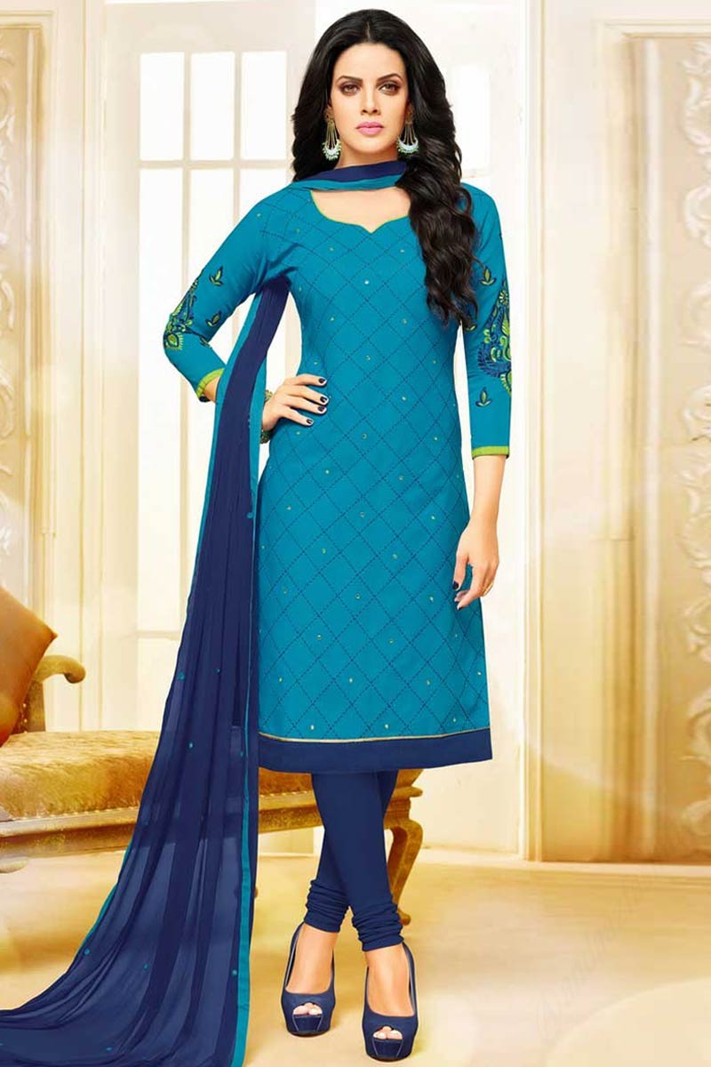 Buy Long Suits cotton Cerulean blue churidar suit DMV12641
