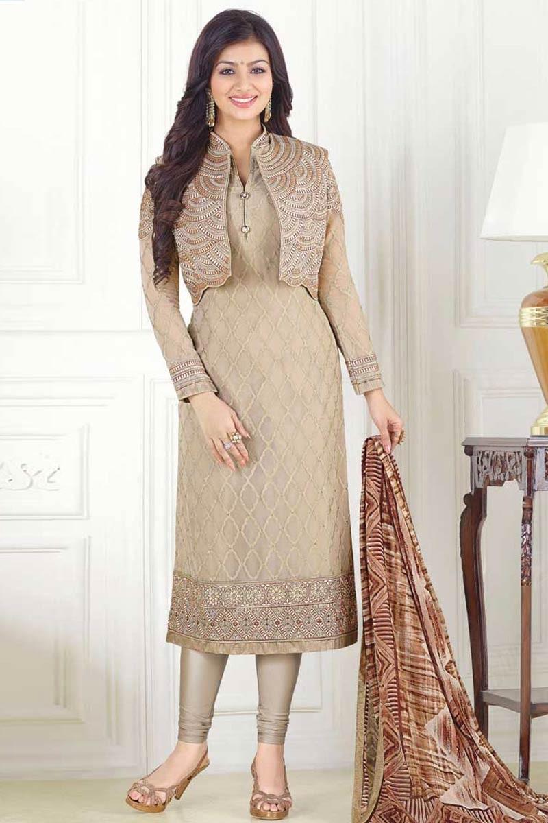 68a151cb80e Wedding Georgette Churidar Suit With Printed Dupatta In Chiku Colour ...