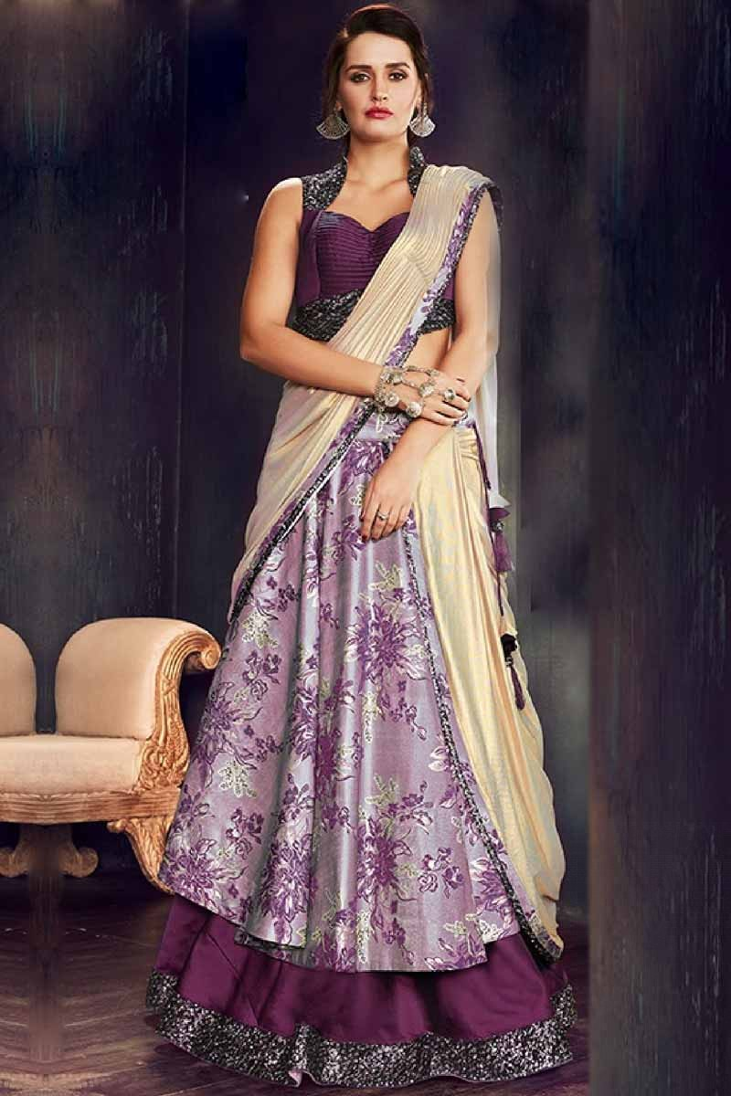 9d1c4f9bb3 Buy Purple Brocade Lehenga Saree Lycra Blouse Online - LLCV00526B | Andaaz  Fashion