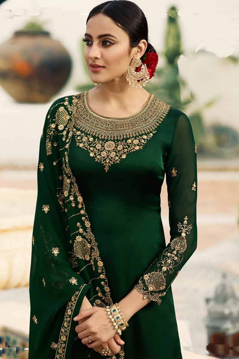 c06759541a Buy Dark Green Embroidered Palazzo Pant Suit Online - LSTV02696 ...