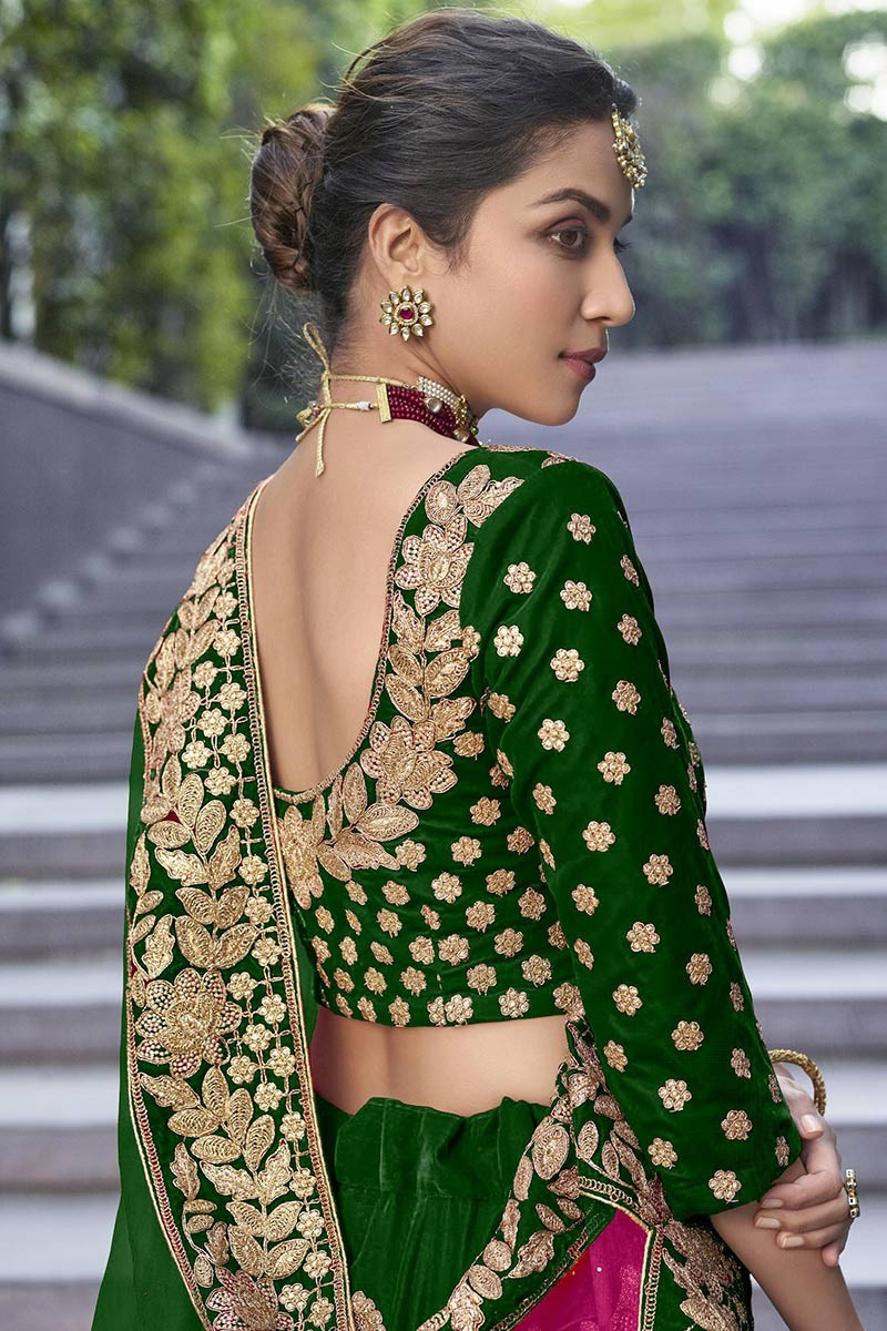 Buy Dark Green Velvet Wedding Wear Lehenga Choli Online Llcv01714 Andaaz Fashion